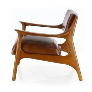 Fauteuil scandinave cuir marron - Ferdinand