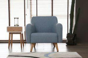 Praze bleu pastel : fauteuil scandinave bleu pastel