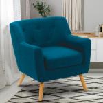 Fauteuil scandinave en tissu bleu canard