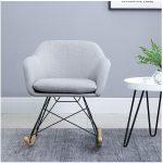 IDIMEX Fauteuil à Bascule ADELANO Rocking Chair Relax avec Coussin et accoudoirs Design scandinave Pieds en métal Noir et Bois, Chaise en...