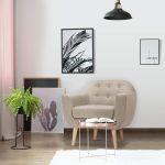 Menzzo Savoy Fauteuil scandinave, Tissu, Beige, 79 x 78 x 73 cm
